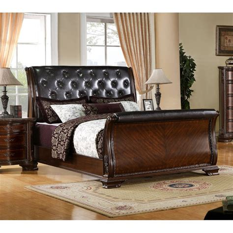 Leather Sleigh Bed Furniture Of America Cheston Tufted Leather Sleigh Bed Idf 7267q
