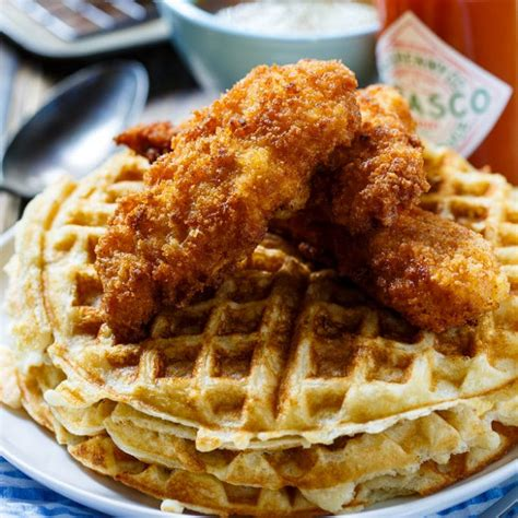 Island Kitchen Bar chicken and waffles with tabasco maple syrup spicy