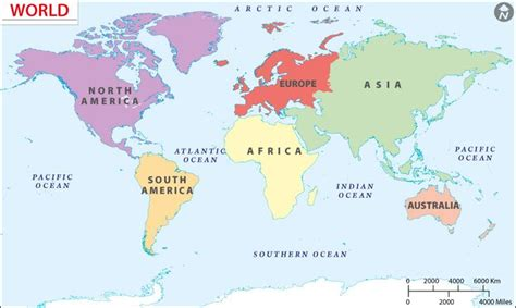 world continents map  education geography pinterest