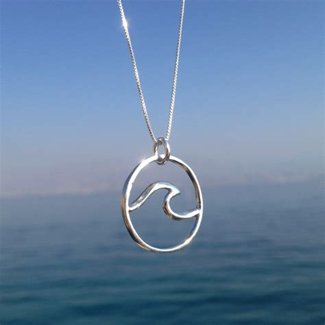 wave necklace surf necklace silver wave necklace surf