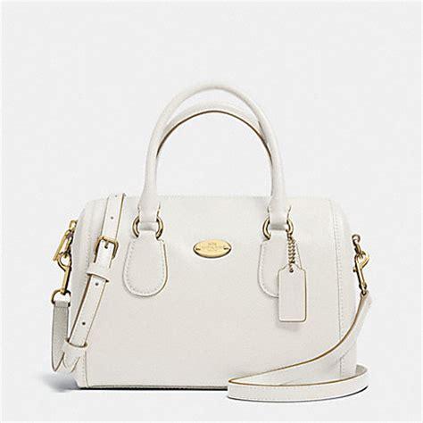 Coach Bennet Chalk coach f33329 crossgrain leather mini satchel light gold chalk coach handbags