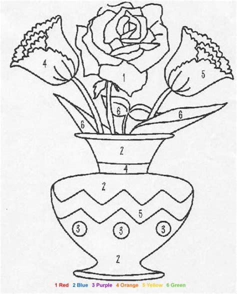 color by number flower coloring pages flowers coloring pages hellokids com
