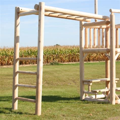 swing monkey bars white cedar log double swing playground playset with