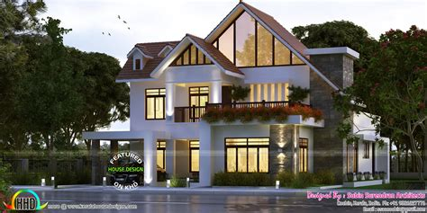 european style sloping roof 4 bhk house kerala home