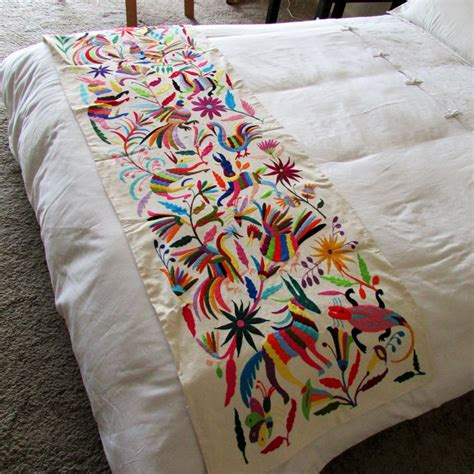 mexican embroidered bedding otomi embroidered fabric full queen size bedspread