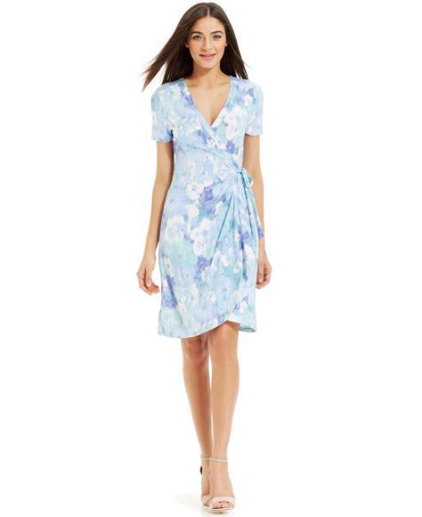 Floral Print Wrap Dress miraclesuit sleeve floral print wrap dress in blue