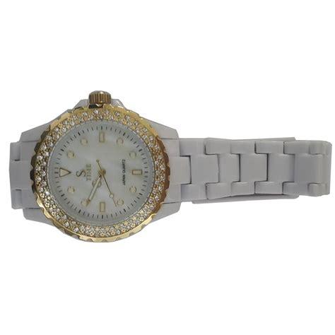 sk time jam tangan analog rhinestone sk08 white gold jakartanotebook