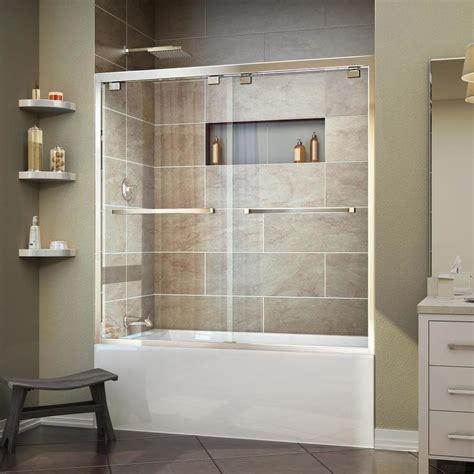 Dreamline Shower Door Reviews Shop Dreamline Encore 56 In To 60 In W Frameless Chrome Sliding Shower Door At Lowes