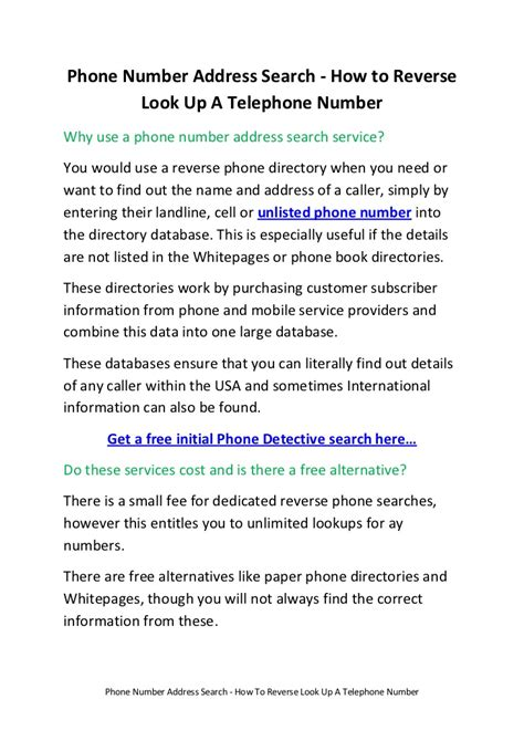 Telephone Number To Address Search Check Number Operator