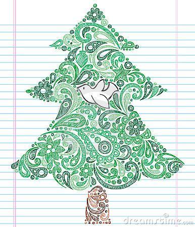 hand drawn sketchy doodle henna paisley christmas tree