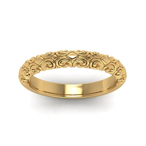 Wedding Rings Gold Band by Filigree Intricate Wedding Band In 18k Yellow Gold
