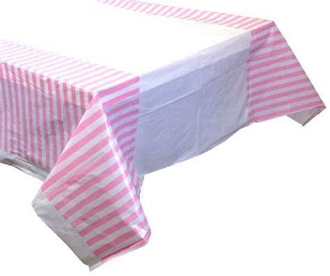 baby pink striped plastic tablecloth