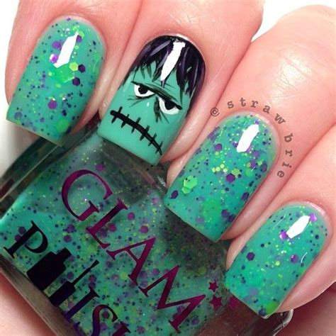 halloween frankenstein nail art 22 monster manicures that make your nails a graveyard smash