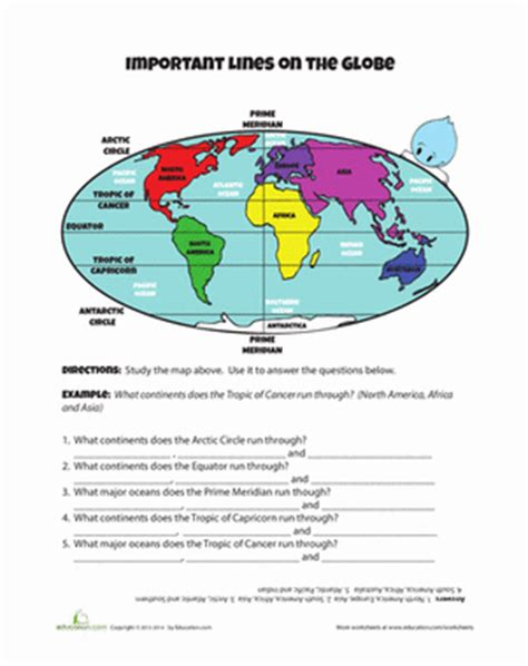 globe maps and lines of latitude worksheet lines on the globe worksheet education