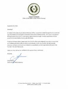 welcome letter from dallas county district attorney craig