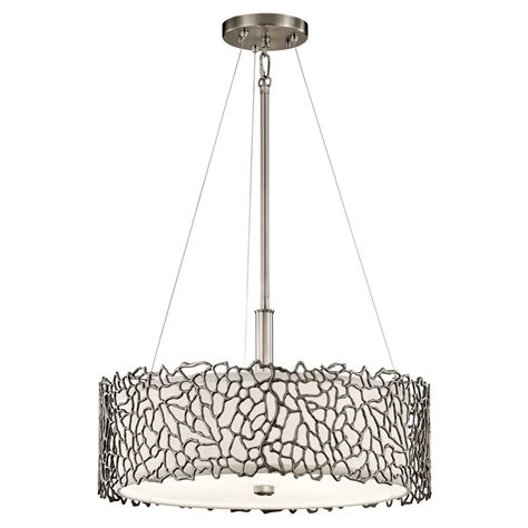 Pendant Light Drum Kichler Lighting Silver Coral Classic Pewter Pendant Light With Drum Shade 43346clp