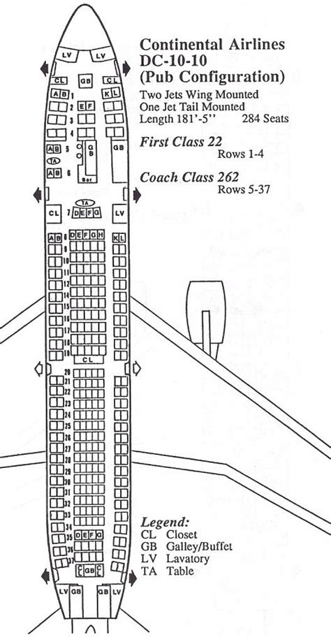 dc10 seating plan airlines flying dc10 vintage airline seat map