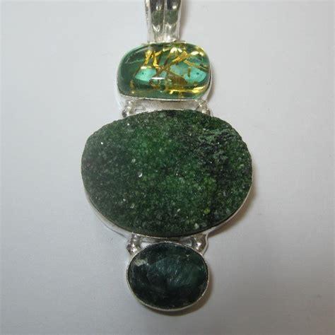 Batu Liontin Agate Gambar liontin silver 925 model vintage druzy hijau cz untuk wanita