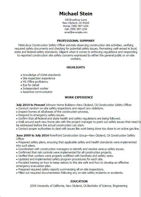 sle cv for health and safety officer 1 construction safety officer resume templates try them