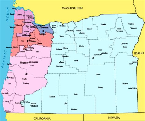 map of oregon districts election 2008 presidential senate and house races