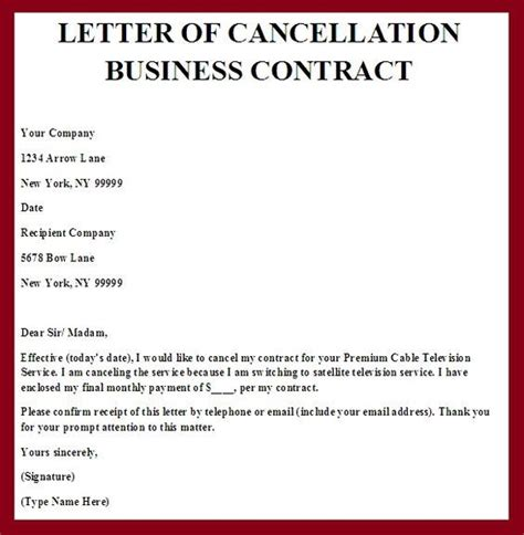 lpo cancellation letter sle printable sle contract termination letter form