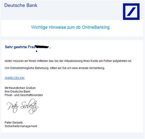 deutsche bank banking geschã ftskunden phishing mail alerts deutsche bank wichtige hinweise