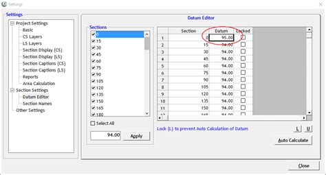 section aid cross section software help change datum of section drawing