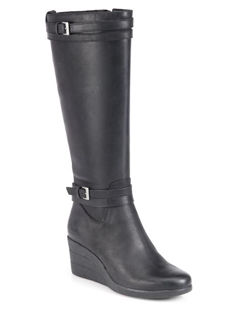 ugg irmah leather wedge boots in black lyst
