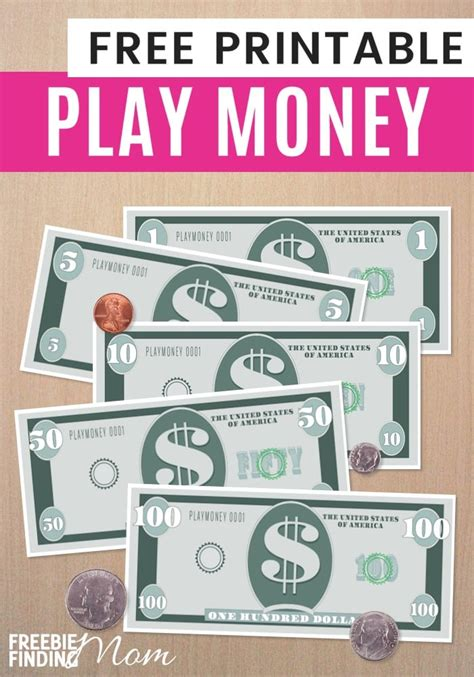 Printable Money Template by Free Printable Play Money Template