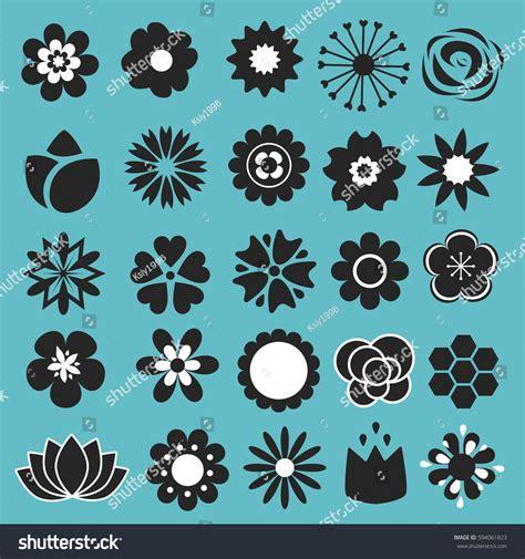 decorative symbols flower icons set decorative floral symbols stock vector