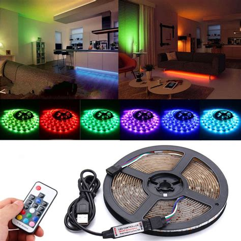 Lu Led 5050 Rgb 16 Colors 2m With Remote Multi Colo dc5v usb rgb 5050 waterproof 17 remote led tv back lighting kit alex nld