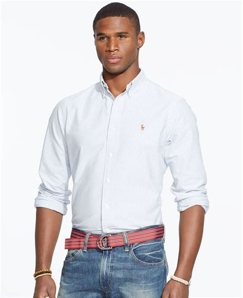 Dress Collar Oxford Navy Mocca polo ralph s sleeve multi striped oxford shirt in blue for lyst