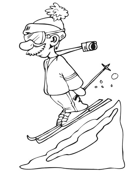 skiing coloring page downhill skier with camera