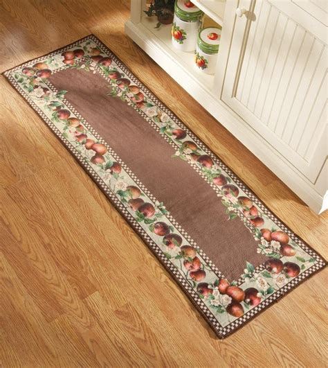 rugs for kitchens apple decor runner kitchen rug country decor apple blossom border runner ebay