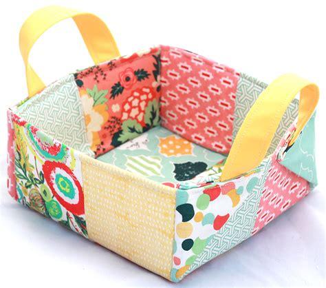 Patchwork Basket - colorful patchwork basket craftsy class by caroline