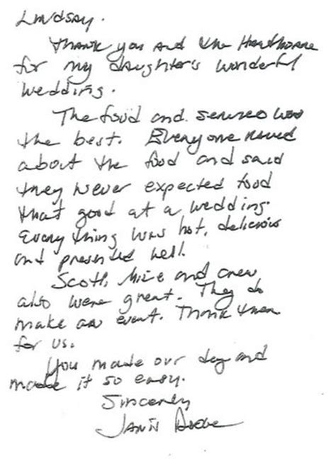 Thank You Note To Reading Weddings At The Hawthorne Hotel Another Heartfelt Thank You Note
