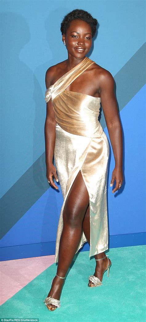 Lupita Dress lupita nyong o stuns in gold dress with thigh length split