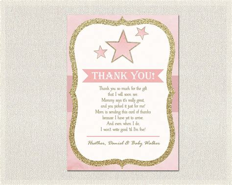 Thank You Cards For Baby Shower by Baby Shower Thank You Card Pink Gold Thank You