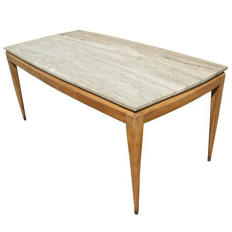 wood and marble dining table midcentury retro style modern architectural vintage