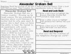 short biography alexander graham bell biography graphic organizer elementary reading