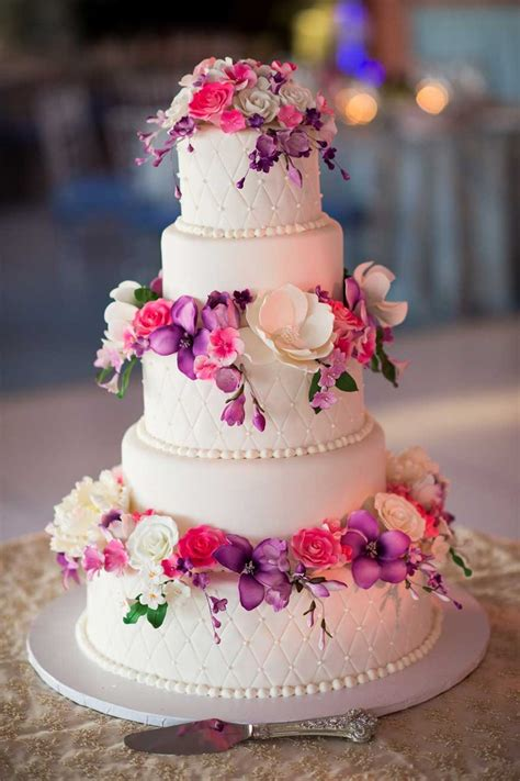 Pink Flower Wedding Cake by Cakes Desserts Photos Pink Purple Sugar Flower Cake