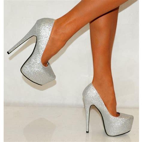 glittery high heels koi couture silver glitter pink peep toes high heels