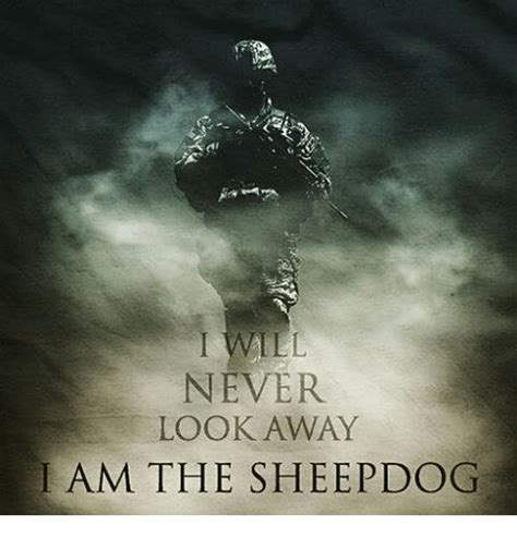 never look away never look away am the sheepdog meme on me me