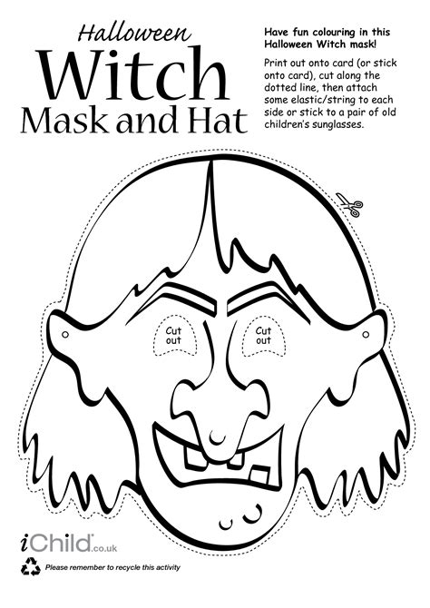 printable witch mask template 4 best images of witch face template printable halloween