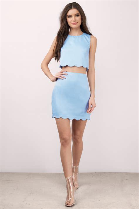Id 2298 Blue Bodycon Dress light blue dress scalloped dress two midriff