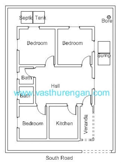 house plan for south facing plot with two bedrooms vastu plan for south facing plot 4 vasthurengan com