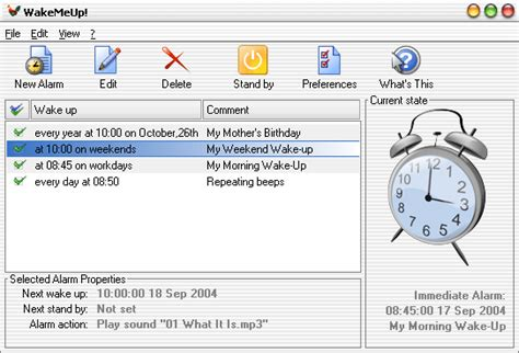 wakemeup wakemeup is an advanced alarm clock that resume your pc from stand by mode and