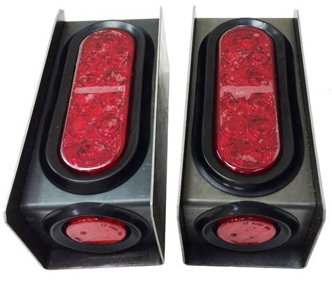 2 led trailer lights 2 steel trailer light boxes w led red 6 quot oval tail light