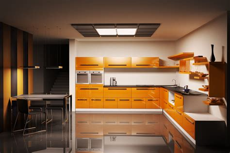 modern kitchen with orange color d s furniture