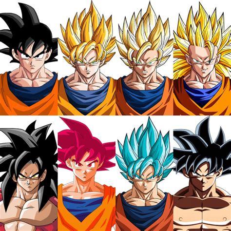 imagenes de goku en todas sus fases goku y todas sus fases